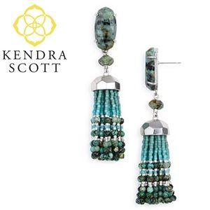 Kendra Scott Dove Tassel Earrings in Green
